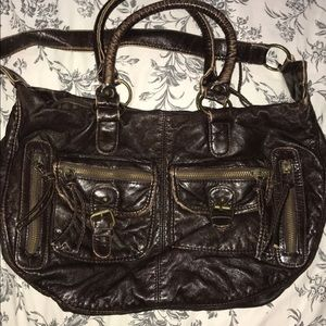 Brown Faux Leather Shoulder Bag w/ zip pockets